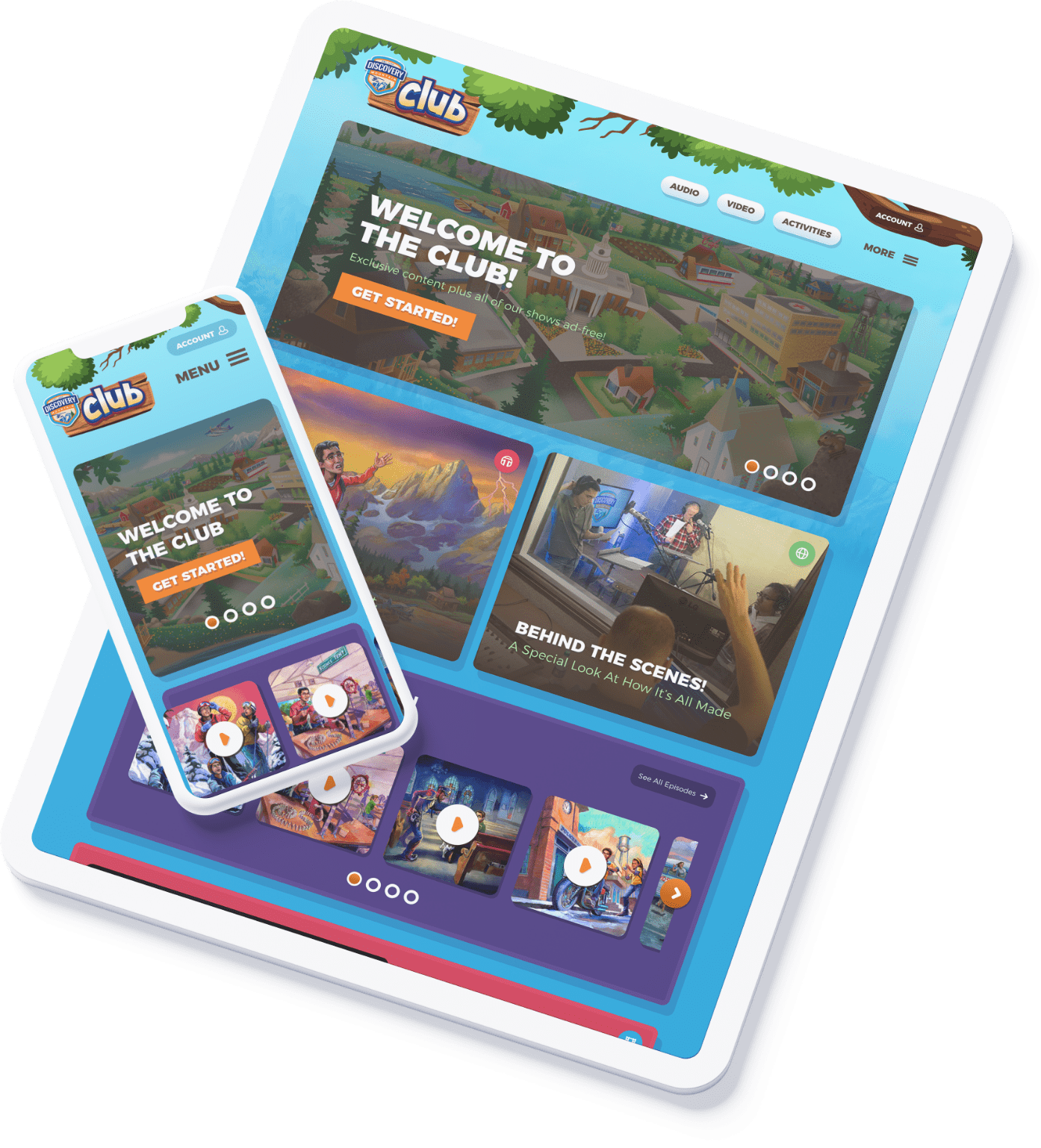 Discovery Mountain Club displayed on an iPad and iPhone